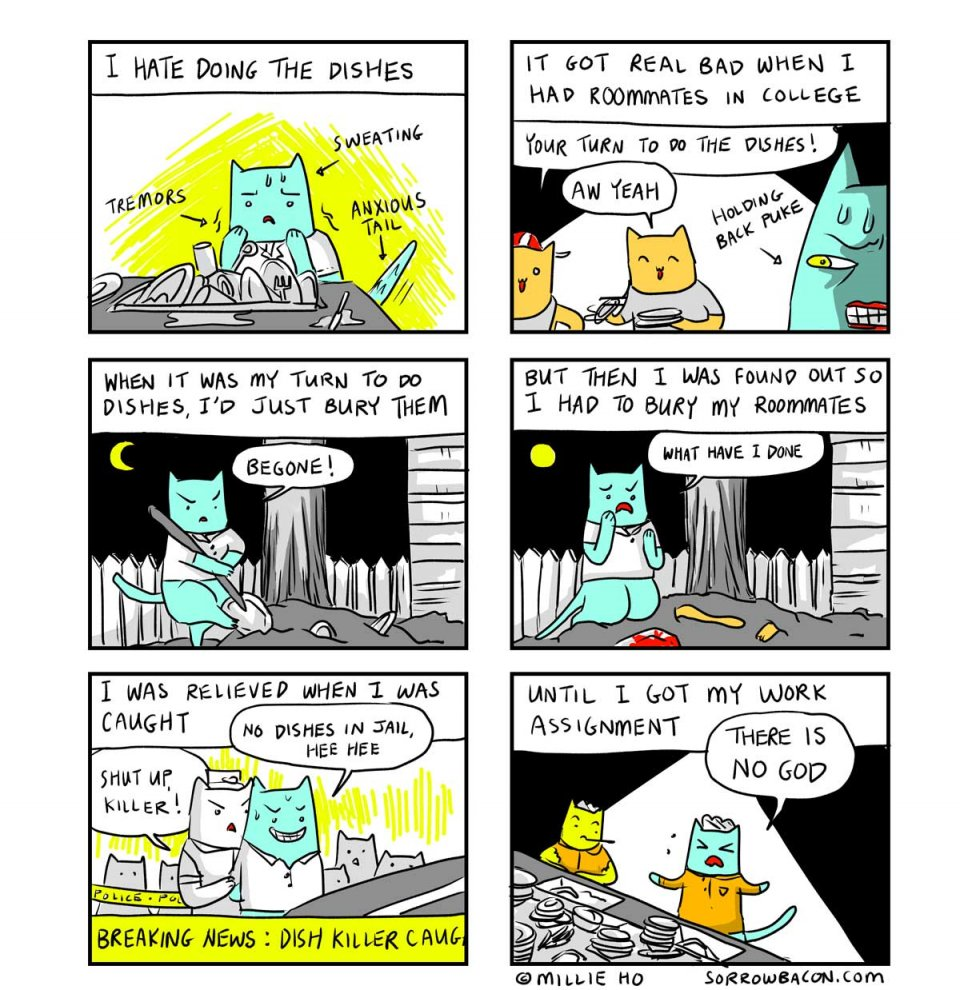 SORROWBACON Dishes Cat Comic by Millie Ho