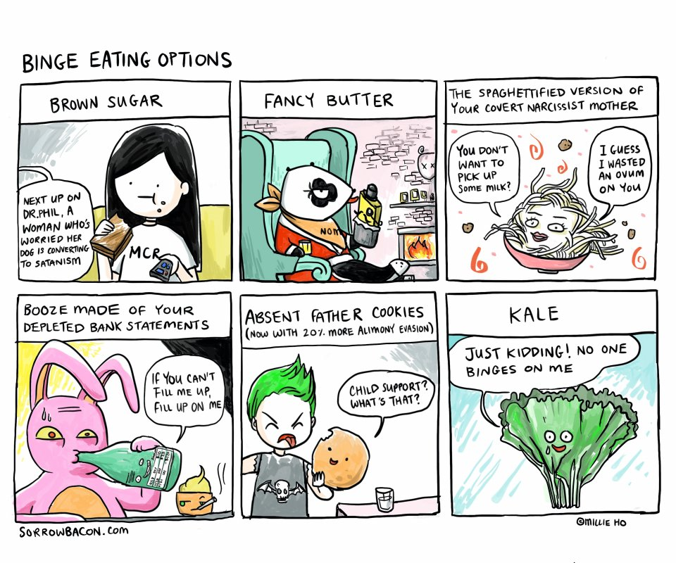 sorrowbacon Binge Eating Options comic