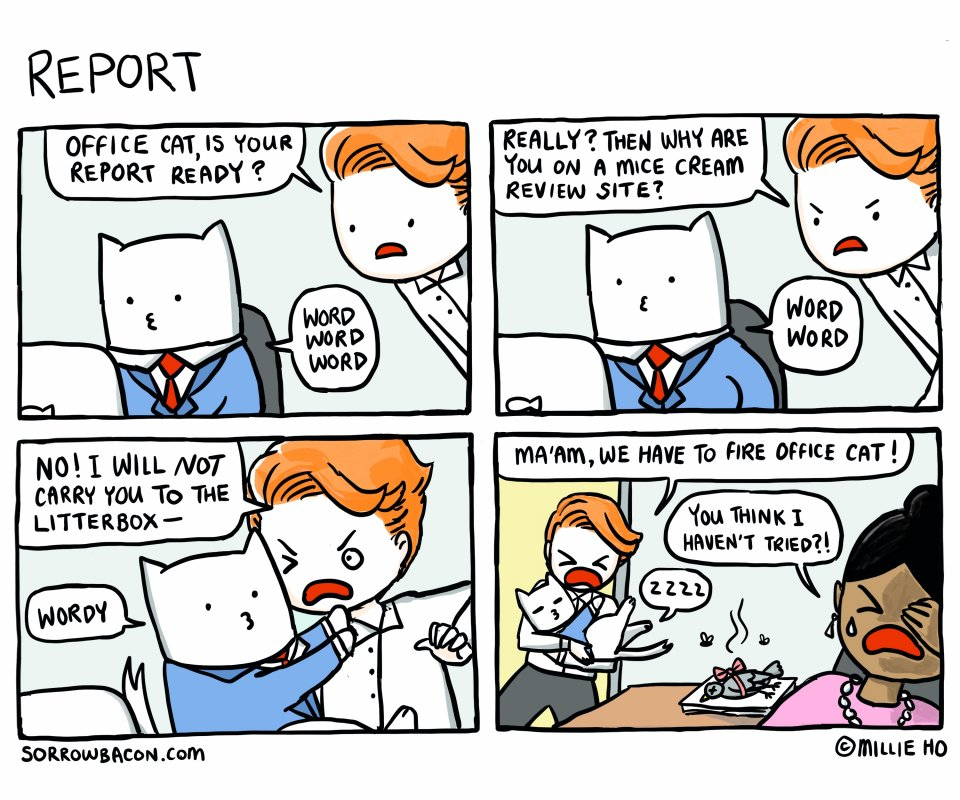 sorrowbacon office cat Report comic