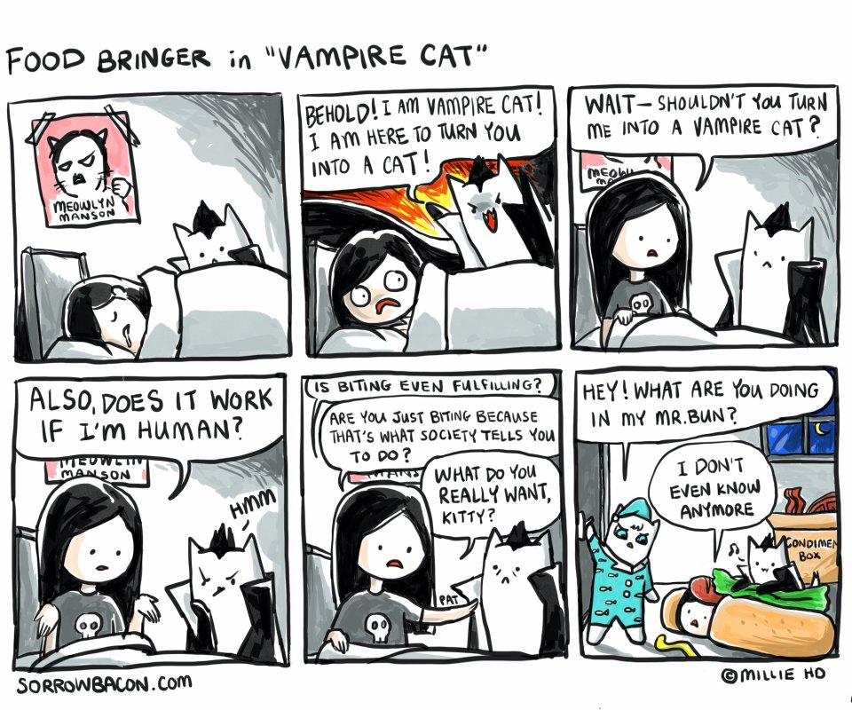 sorrowbacon Vampire Cat comic by Millie Ho