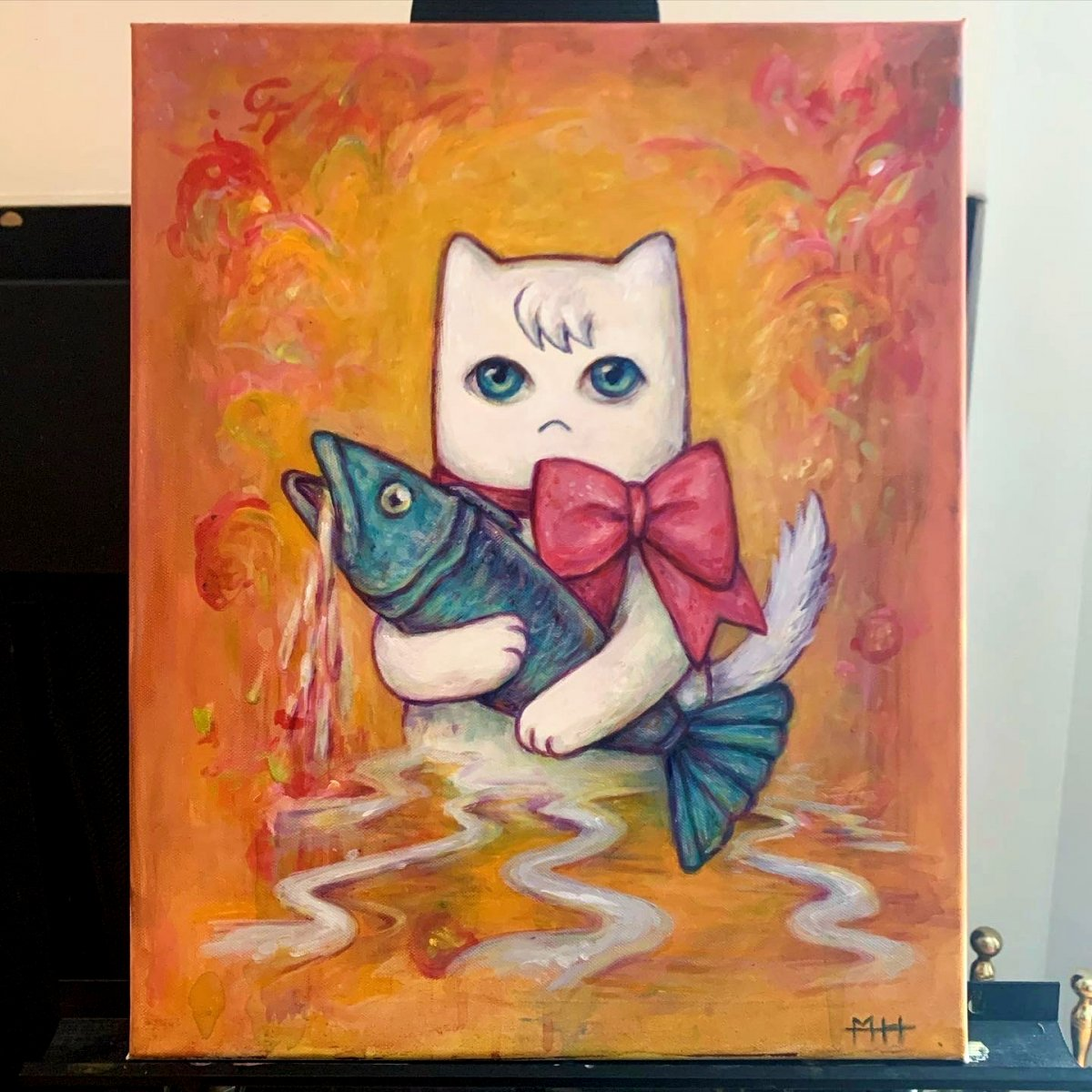 Painting of Sociopathic Cat from sorrowbacon